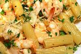 Pasta olio, aglio, peperoncino with prawns - Italian cuisine