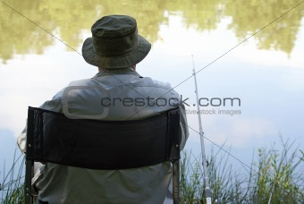 Old man enjoys fishing