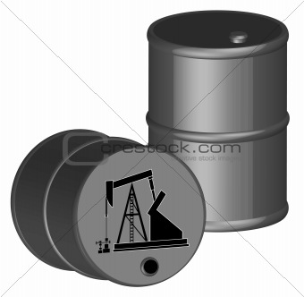 oil barrels with oil rig
