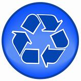 recycle symbol on blue button or icon