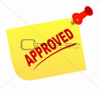 approved on thumb tacked note