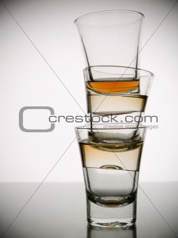 Three shots of whisky