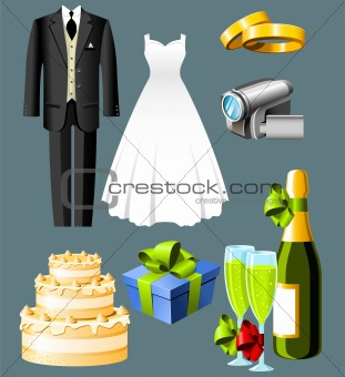 Wedding icons - set of seven items