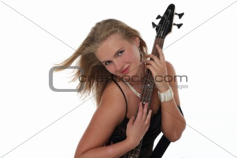 blond woman with guitar isolated on white background