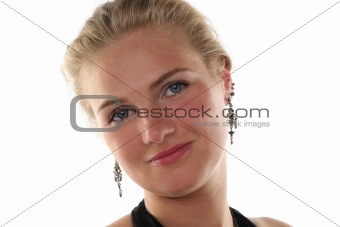 portrait of young blond woman isolated on white background