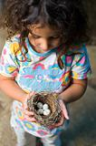 little girl holding nest with eggs