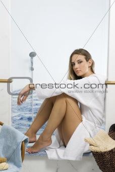 blond in bathroom