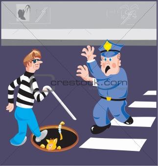 Blind pedestrian