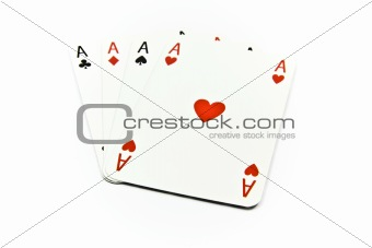 Four aces of cards isolated