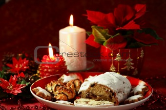 Beautiful Christmas still life with cake and candles