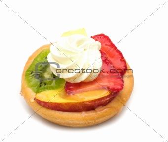 cake with fruits on white background