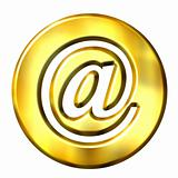 3D Golden Framed Email Symbol