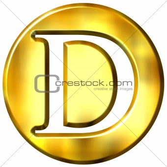 3D Golden Letter D