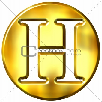 3D Golden Letter H