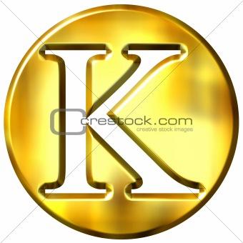 3D Golden Letter K