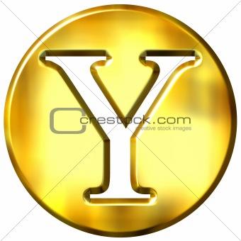 3D Golden Letter Y