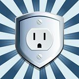 Blue shield electric outlet