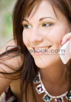 woman with white phone