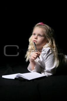 Blonde Girl Writing in Journal