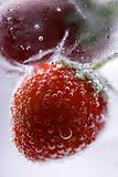 Strawberry in sparkling water