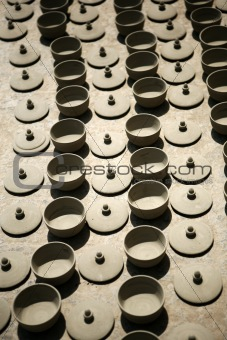 Pottery laid out to dry