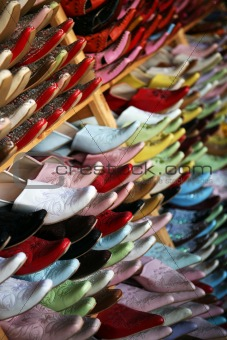 Close up of shoes in a Moroccan tannery