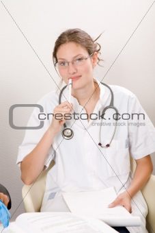 Attractive medical student