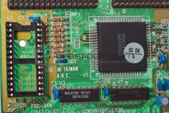 Close up on a busy circuit board