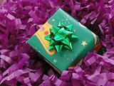 gift box on purple background