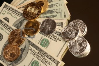 Gold and silver coins and paper currency