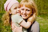 Daughter embraces mum