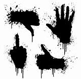 Hand gestures splatter design elements