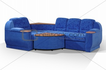 angular sofa of dark blue color