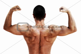 Back profile of muscular male