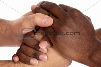 African and caucasian male shaking hands