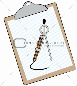 clipboard and compass