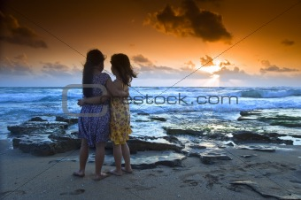 girls beach sunset