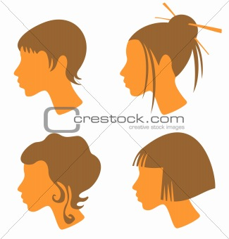 four female heads