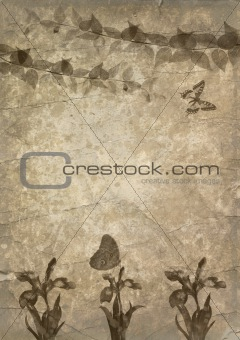 old paper, butterfly and flower