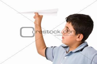 boy woth paper plane