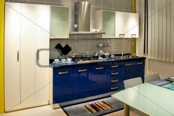 Blue kitchen counter