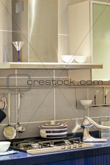 Blue kitchen stove