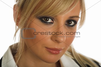 Blonde young woman portrait on white