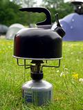 Kettle on camping gas stove