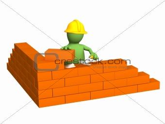 3d puppet - builder, building a brick wall