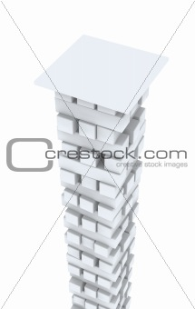 3d white column from bricks