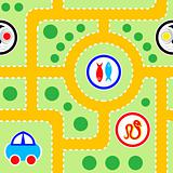 Kids road seamless pattern