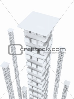3d white columns from bricks