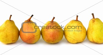fresh pears row on white background