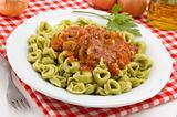 close-up of tortellini dish
